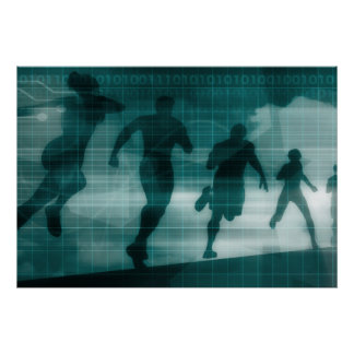 Poster Silhouette Illustrati de logiciel de traqueur de