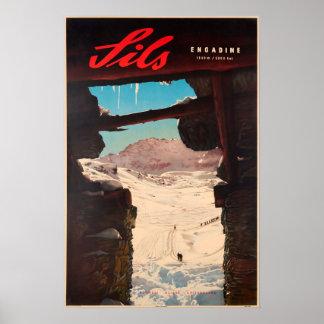 Poster Sils, Engadine, Suisse, affiche de ski