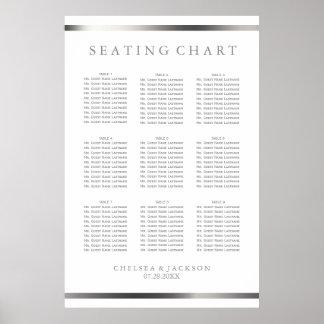 Poster Simplement argent et blanc - diagramme 9 de places