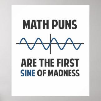 Poster Sinus de calembours de maths premier de folie