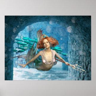 Poster Sirène avec l'affiche de trident et de poissons