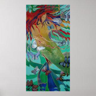 Poster Sirène et papillons