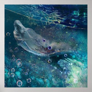 Poster Sirène sous-marine mystique d'indigo