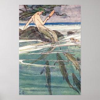 Poster Sirène sur la roche de Marooners par Alice B.