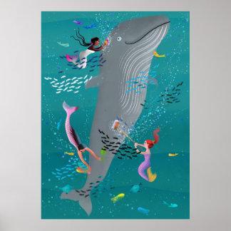 Poster Sirènes s'occupant une baleine et nettoyant l'oce