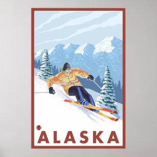 Poster Skieur de neige de Downhhill - Alaska