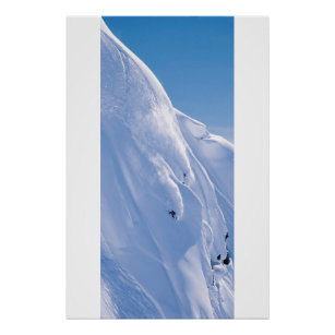 Poster Skieur sur la falaise