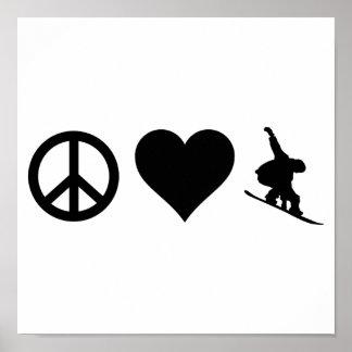Poster Snowboarding d'amour de paix