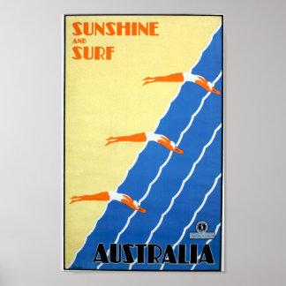 Poster Soleil vintage et surf dans le voyage de