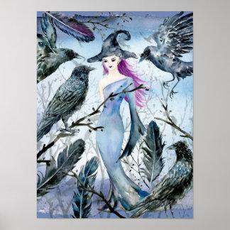 Poster Sorcière et corneilles d'aquarelle