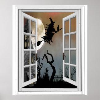 Poster Sorcière sur la vue Halloween de fenêtre de manche