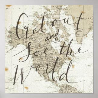 Poster Sortez et voyez le monde citer