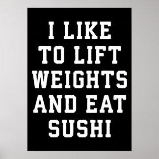 Poster Soulevez les poids et mangez les sushi - nouveauté