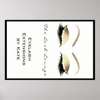 Poster Sourcils de charme d'or blanc de nom de salon de