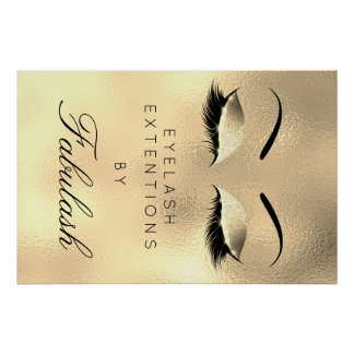 Poster Sourcils de luxe d'or de nom de salon de beauté de