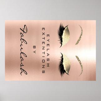 Poster Sourcils roses de rose d'or de nom de salon de