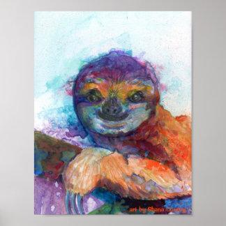 Poster Sourire de paresse - aquarelle