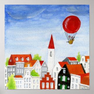 Poster Souris de ballon et affiche de toits