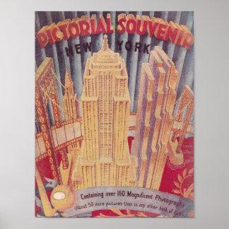 Poster Souvenir vintage d'illustré de New York City