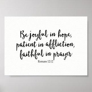 Poster Soyez joyeux dans l'espoir, patient dans