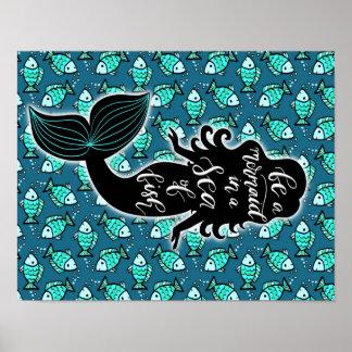 Poster Soyez une sirène en mer des poissons