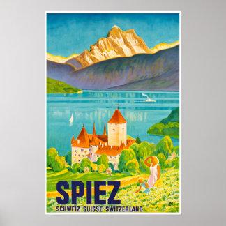 Poster Spiez, Suisse, voyage Pposter