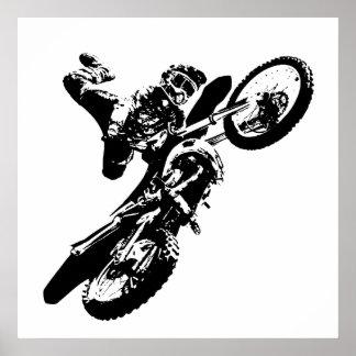 Poster Sport blanc noir de Motorcyle de motocross d'art