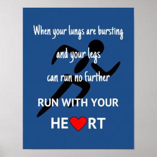 Poster Sport de motivation de citation de coureur