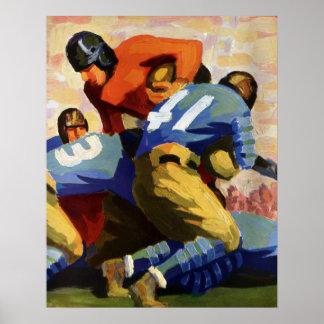 Poster Sports vintages, joueurs de football dans un jeu