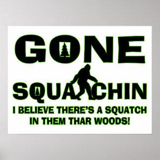 Poster Squatchin allé Bigfoot en bois