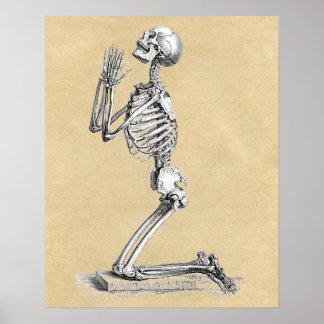Poster Squelette dans la prière