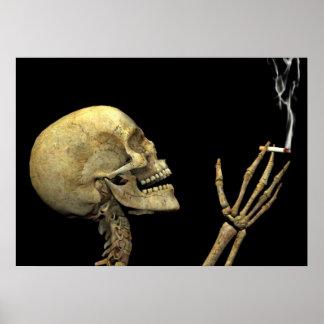 Poster squelette qui fume