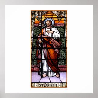 Poster St Joseph prient pour nous - la fenêtre en verre t