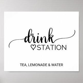 Poster Station noire et blanche simple de boissons de