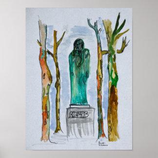 Poster Statue de Balzac par Rodin   Paris, France