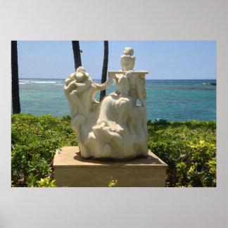 Poster Statue de femme jouant la cannelure, Waikoloa,