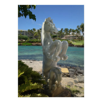 Poster Statue de hippocampe (hippocampe), Waikoloa, Hawaï