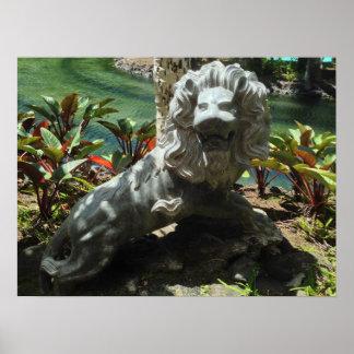 Poster Statue de lion d'hurlement, Waikoloa, Hawaï