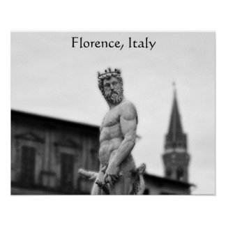 Poster Statue de Neptune, Florence, affiche