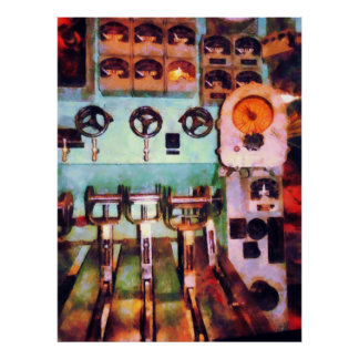 Poster Steampunk - salle de commande électrique