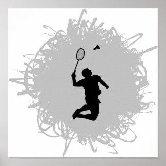 Poster Style de griffonnage de badminton
