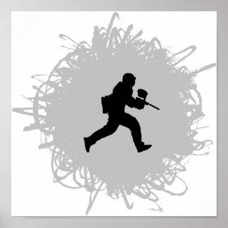 Poster Style de griffonnage de Paintball