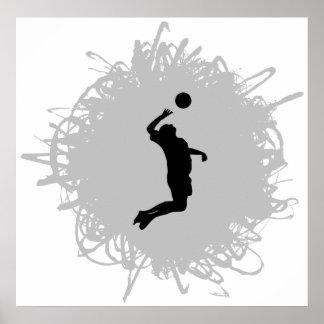 Poster Style de griffonnage de volleyball (mâle)