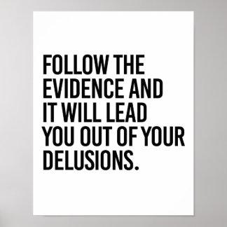 Poster Suivez les preuves et elles vous mèneront hors du