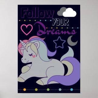 Poster Suivez votre affiche de licorne de rêves