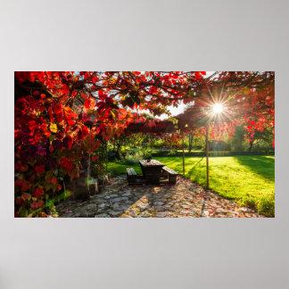 Poster Sun par le feuille d'automne, Croatie