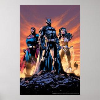 Poster Superman, Batman, et trinité de femme de merveille