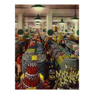Poster Supermarché vintage, nourriture et boissons