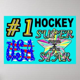 Poster Superstar d'hockey des Etats-Unis du numéro un
