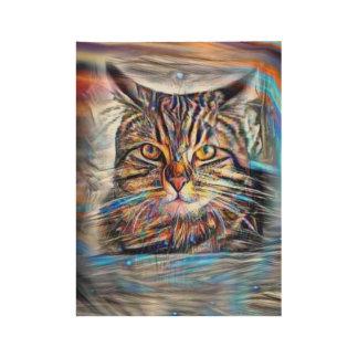 Poster Sur Bois À la dérive chez le chat abstrait de révolution de